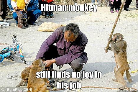 Hitman Monkey Still Finds No Joy In His Job Hitman Monkey Quickmeme