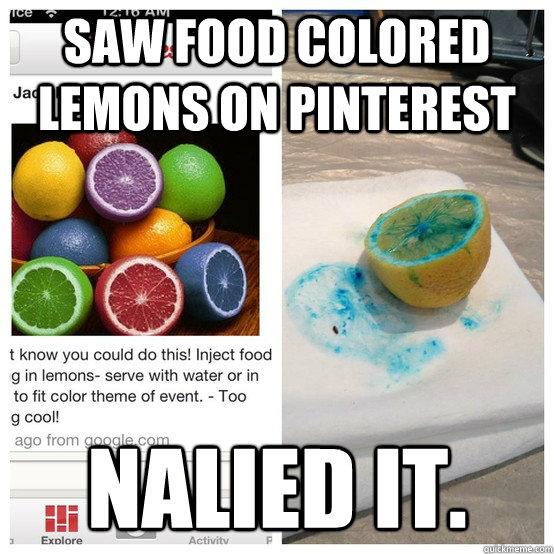 saw food colored lemons on Pinterest nalied it  - Nailed It