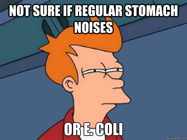 Not Sure if regular stomach noises or E  coli - Unsure Fry