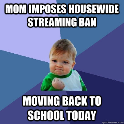 Mom imposes housewide streaming ban moving back to school