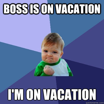 Boss Is On Vacation I M On Vacation Success Kid Quickmeme