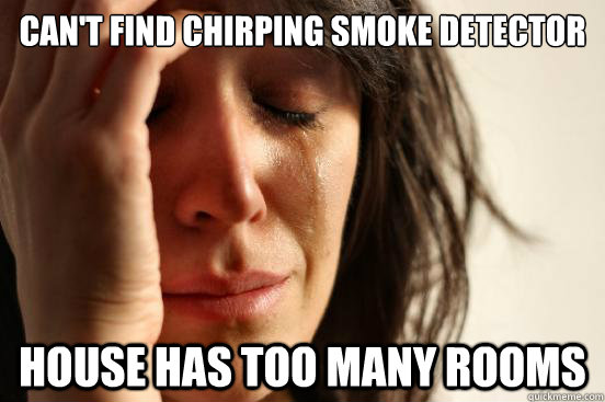 Can T Find Chirping Smoke Detector House Has Too Many Rooms First World Problems Quickmeme