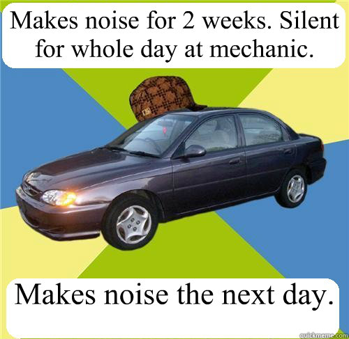 Makes noise for 2 weeks  Silent for whole day at mechanic