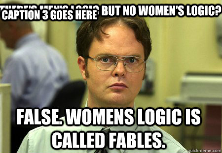There S Men S Logic But No Women S Logic False Womens Logic Is Called Fables Caption 3 Goes Here Schrute Quickmeme
