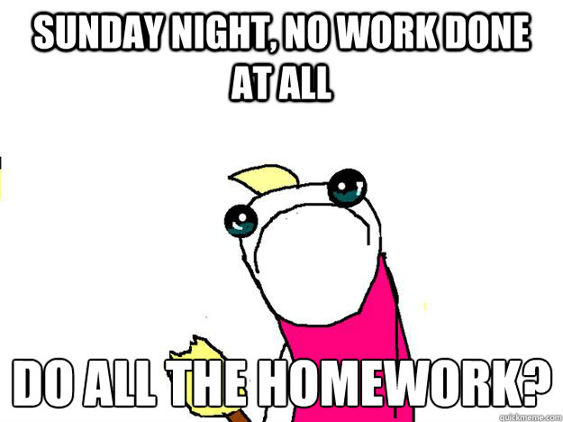 Sunday Night No Work Done At All Do All The Homework All The Things Sad Quickmeme