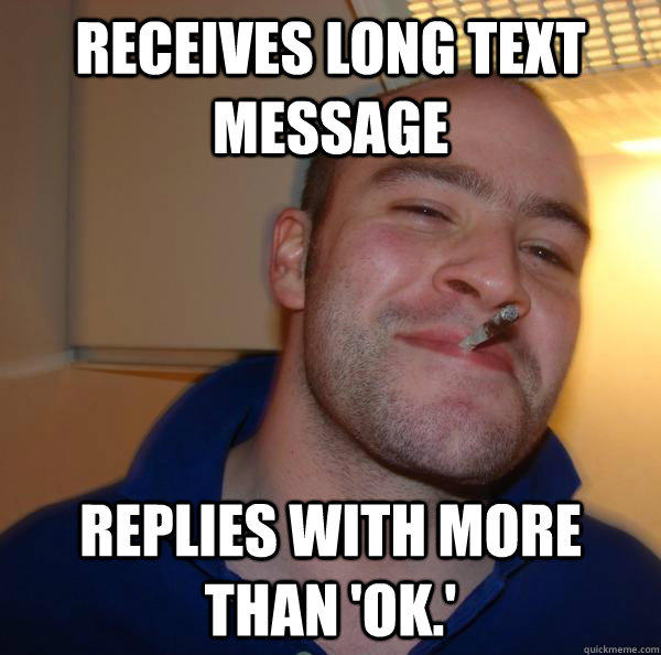 receives long text message Replies with more than 'ok