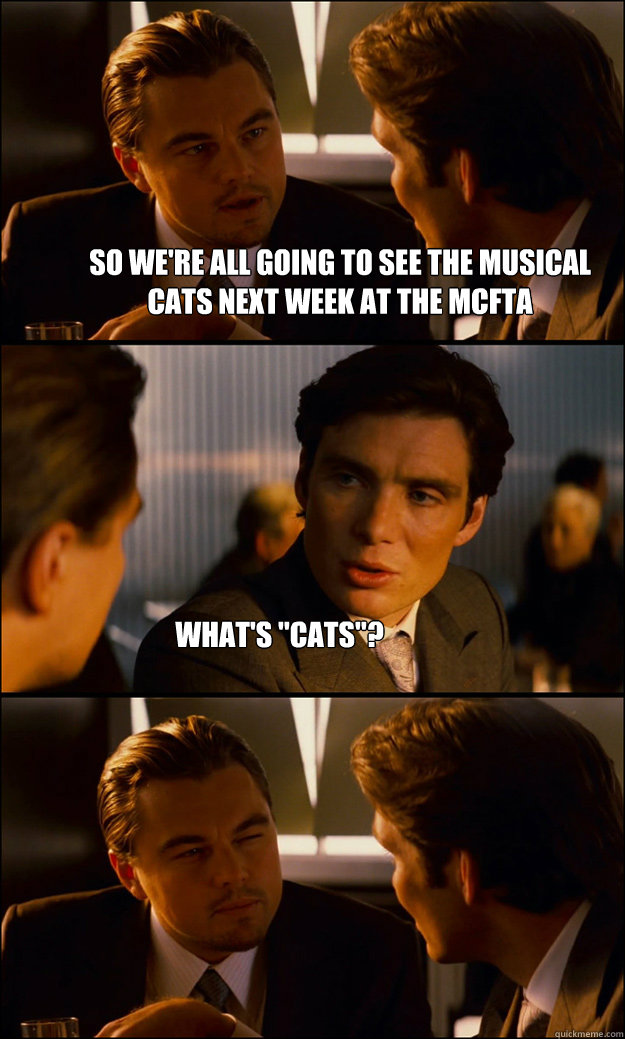 So we\u0027re all going to see the musical Cats next week at the