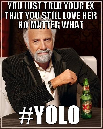 YOU JUST TOLD YOUR EX THAT YOU STILL LOVE HER NO MATTER WHAT