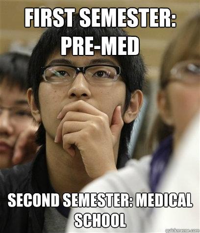 First Semester Pre Med Second Semester Medical School Asian