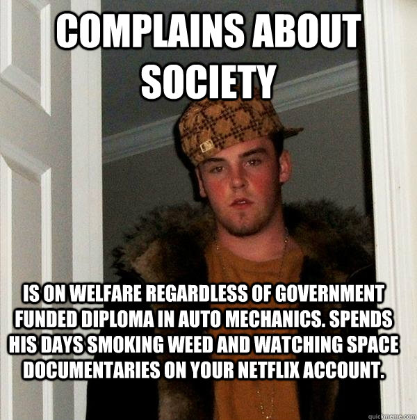 Complains about society Is on welfare regardless of