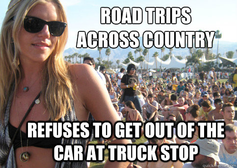 Road trips across country refuses to get out of the car at