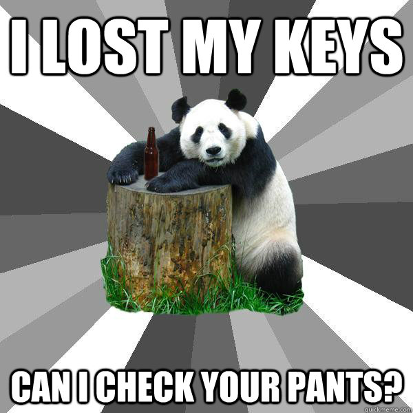 I Lost My Keys Can I Check Your Pants Pickup Line Panda Quickmeme