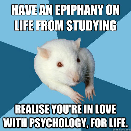 Have An Epiphany On Life From Studying Realise You Re In Love With Psychology For Life Psychology Major Rat Quickmeme