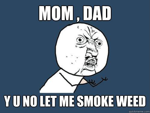 MOM , DAD y u No LET ME SMOKE WEED - Y U No - quickmeme