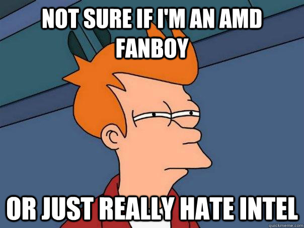 Not Sure If I M An Amd Fanboy Or Just Really Hate Intel Futurama Fry Quickmeme