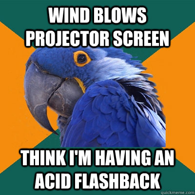 Wind blows projector screen think i'm having an acid