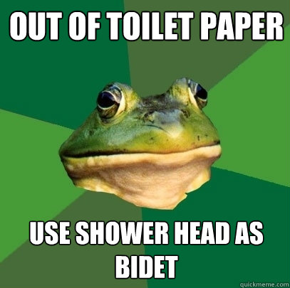 Out Of Toilet Paper Use Shower Head As Bidet Foul Bachelor Frog Quickmeme