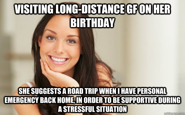 Visiting long,distance GF on her birthday She suggests a