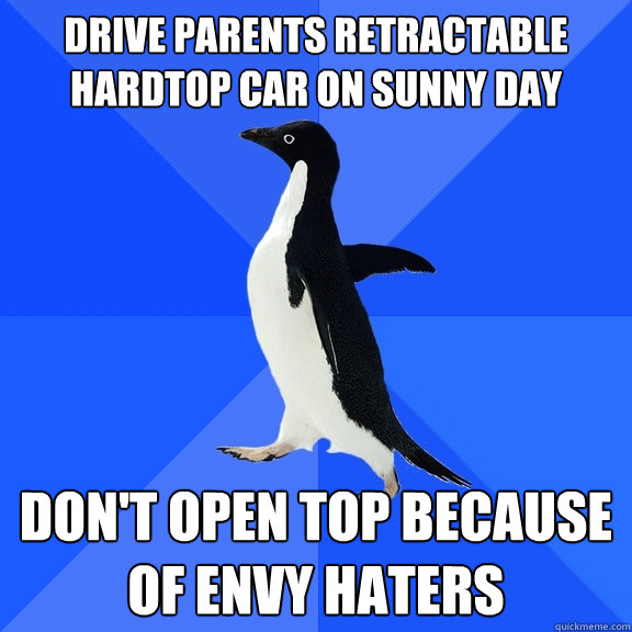 drive parents retractable hardtop car on sunny day don't