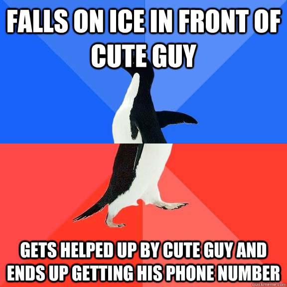 falls on ice in front of cute guy gets helped up by cute guy