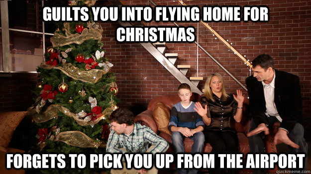 Family Christmas Meme Funny.Guilts You Into Flying Home For Christmas Forgets To Pick