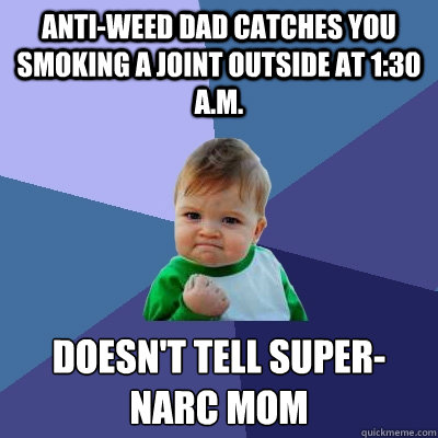 Anti-weed Dad catches you smoking a joint outside at 1:30