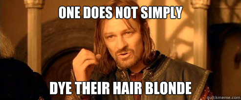 One Does Not Simply Dye Their Hair Blonde One Does Not