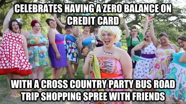 Celebrates having a zero balance on credit card with a cross