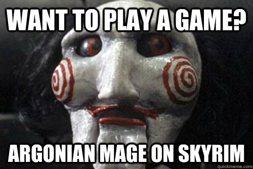 Want to play a game? Argonian Mage on skyrim - Gamer Jigsaw
