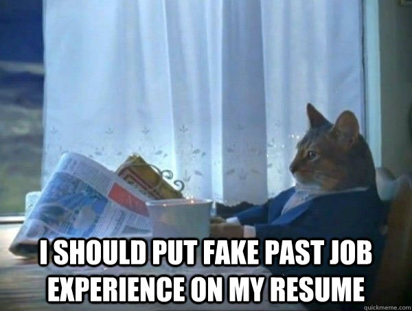 I Should Put Fake Past Job Experience On My Resume Morning