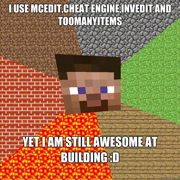 i use MCEdit,cheat engine,invedit and toomanyitems Yet i am