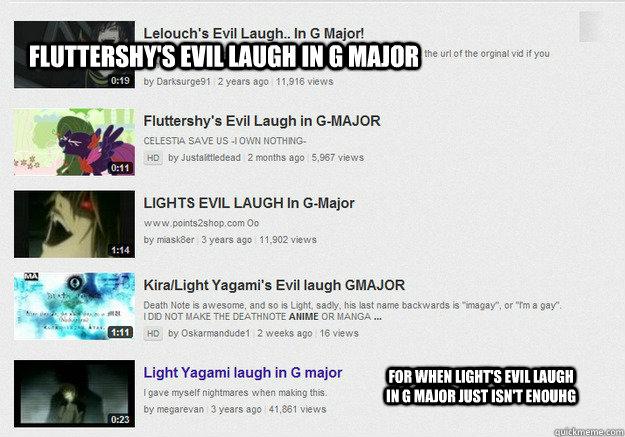 Fluttershy's evil laugh in G Major For when Light's evil