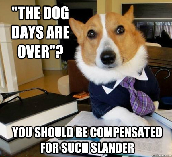 The Dog Days Are Over You Should Be Compensated For Such Slander